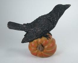"Black Crow Figurine Standing on Halloween Pumpkin 6.25"" x 7.75"" - $19.75"