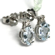 18K WHITE GOLD AQUAMARINE EARRINGS 0.90 CARATS, OVAL CUT, DIAMONDS, ITALY MADE image 2