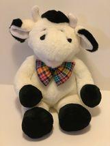 "Commonwealth Plush Cow Black White Stuffed Animal Plaid Bow Tie Soft 14"" Toy image 8"