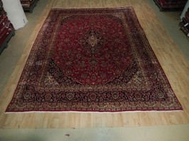 Red-Navy 10' x 13' Charming Persian Quality Kashan Hand Woven Area Rug - $949.89