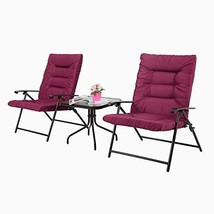 Iwicker Patio 3 PCS Steel Padded Folding Chair Set, Tempered Glass Table... - $122.87