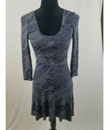 Three Dots women M fit & flare dress 3/4 sleeve gray - $18.81