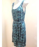 Liz Claiborne L Dress Blue Green Belted Sleevel... - $21.53