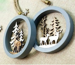 Christmas Tree Wooden Hanging Ornaments Xmas Tree Decoration for Home Pa... - $3.75+