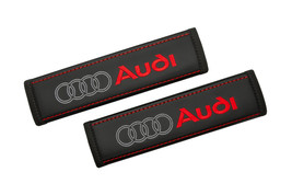 AUDI Leather Custom Car Seat Belt Covers Red Logo Embroidery Shoulder Pads - $45.00