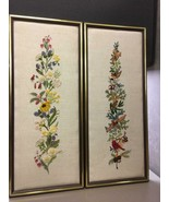 Pair of Hand Embroidered Padded Framed Cloth Floral and Birds - $29.69