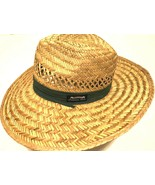 The Original Panama Jack Paper Rush Straw Green Band Beach Summer Sun Hat L - $29.69