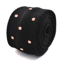Frederick Thomas schwarz gestrickt Krawatte mit hell blassrosa Tupfen ft2051