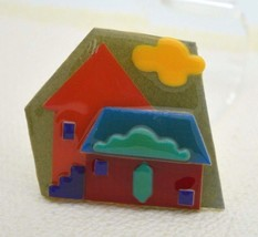 Vintage HOUSE PINS BY LUCINDA Mixed Materials Houses Cloud Pin Brooch - $26.73