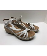 Clarks Artisan Womens Shoes 6.5 White Leather Ankle Strap Sandals Wedge ... - $29.65