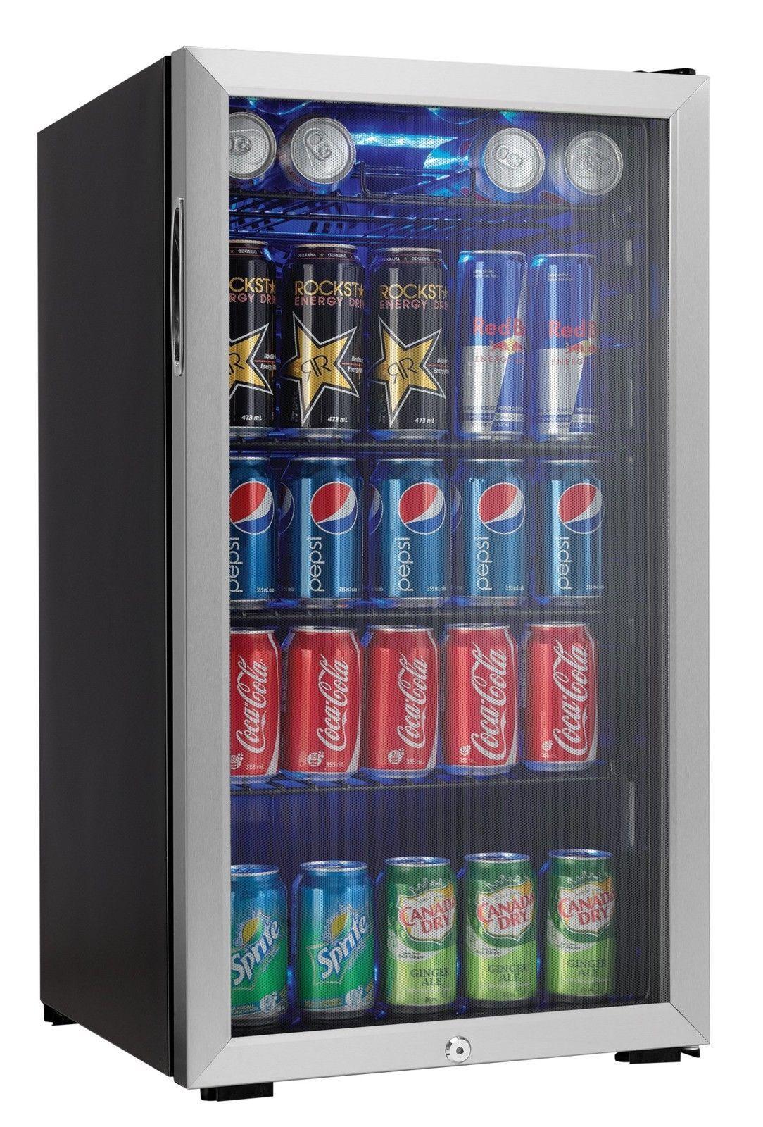 Beverage Refrigerator Center Can Mini Fridge Stainless Steel Glass Door Freezer