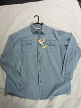 Nwt~Wrangler Blue J EAN Shirt~Long Sleeve~Button Down~Relaxed Fit~Size L - $13.86