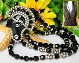 Vintage art deco necklace flapper face pendant black glass rhinestones thumb155 crop