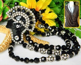 Vintage Art Deco Necklace Flapper Face Pendant Black Glass Rhinestones - $74.95