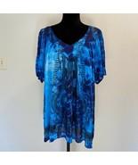 NEW - Greater Good tie dye v neck hippie BOHO shirt  blouse XL - $24.24