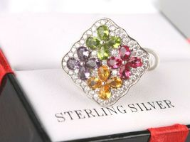 Size 8 Sterling Silver Multi Flower Cubic Zirconia Cluster Ring New w Tags image 5