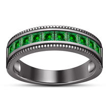 10k Black Gold Finish 925 Sterling Silver Green Sapphire Men's Band Wedd... - $97.88