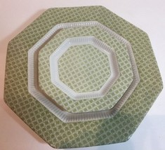 Vtg. Independence Ironstone Verdette 2 Pc. Place Setting Octagonal Small... - $22.76