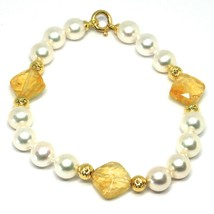 Bracelet Yellow Gold 18K 750, Citrine, White Pearl Balls Pattern~ - $350.81