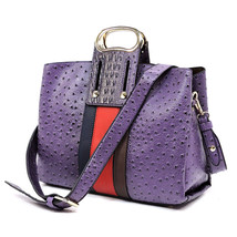 Handbag Republic Ostrich Embossed Striped Convertible Large Satchel w/ S... - $58.50