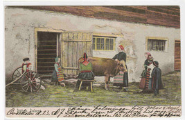Milking Cow Farm Dalarne Rattvik Sweden 1907 postcard - $5.94