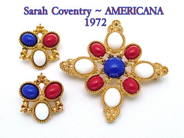 Vintage Brooch Earrings Set D&E Sarah Coventry Red White Blue AMERICANA ... - €44,67 EUR