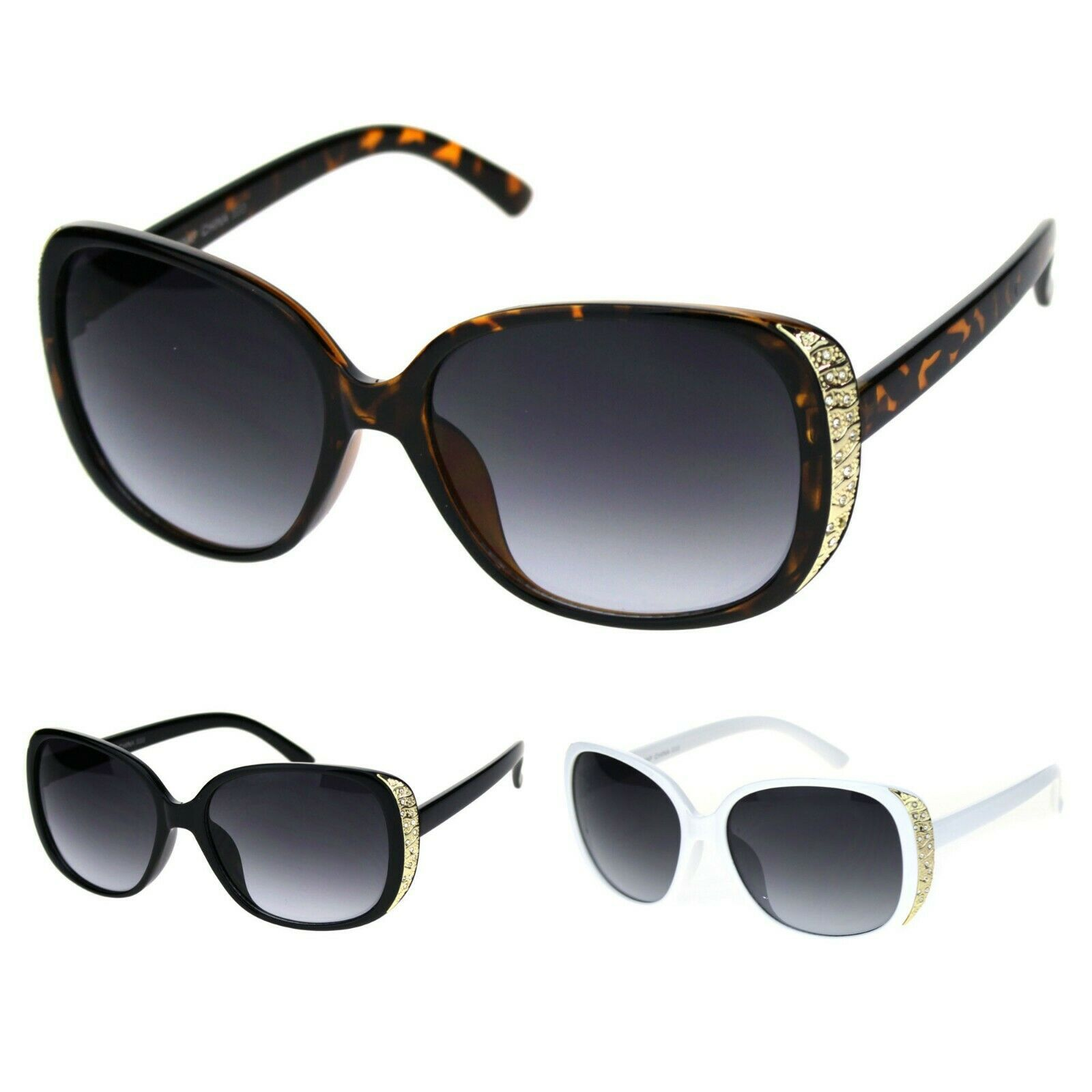 Womens Gold Nugget Rhinestone Side Trim Plastic Butterfly Sunglasses
