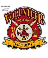 Volunteer Fire Dept Cut Out Man Cave Metal Sign 14.5×15 - $26.73