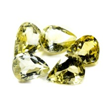 5 PCS 12X8 MM Real Citrine Loose Gemstone Pear Shape Faceted Yellow Ston... - $25.84