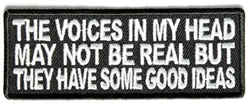 The Voices In My Head May Not Be Real Fun Embroidered Patch - 4x1.5 inch