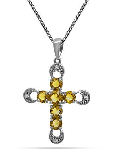 AFJewels 14k White Gold Genuine Citrine Diamonds Accent Cross Pendant