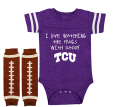 TCU Horned Frogs Onesie Bodysuit Shirt Jersey Set Watching With Daddy - $22.95+