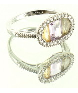 VINTAGE 14K WHT GOLD AMETHYST QUARTZ CITRINE .42CTTW DIAMONDS RING 6.75 HALLMARK - $188.99