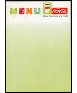 Vintage menu COCA COLA fishtail cup pictured unused new old stock n-mint... - $8.99