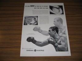 1953 Print Ad GE Aluminized TV Picture Tubes Rocky Marciano Champion Boxer - $15.23