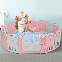 16-Panel Baby Playpen with Music Box & Basketball Hoop-Pink - $172.61