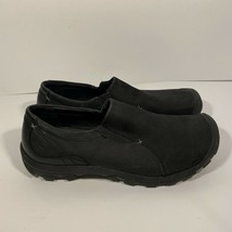 Keen Women's 9.5 Black Suede Leather Slip On Shoe Outdoor Walking Thick Soles - $44.54