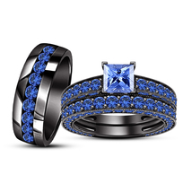 His & Her Blue Sapphire Trio Ring Set 14k Black Gold Finish 925 Sterling Silver - $154.47