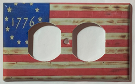 Betsy Ross star 1776 US Flag Wooden Light Switch Duplex Outlet wall Cover Plate  image 5