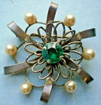 Sterling Silver Brooch/Pin with Blue Rhinestone and Pearls - $17.10