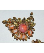 Juliana Demi Brooch Clip Earrings Peachy Art Glass & Watermelon Rhinestones - $199.99