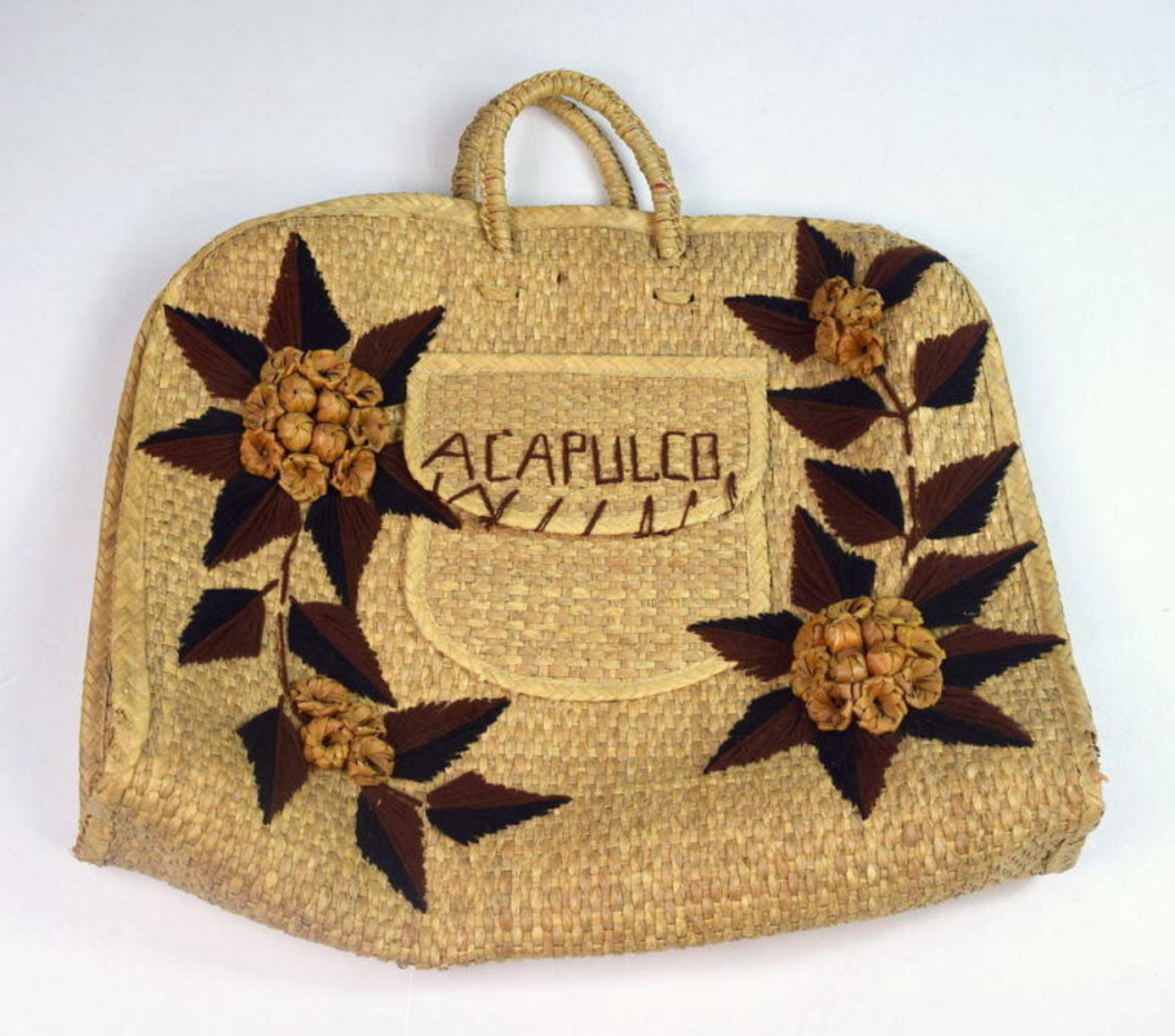 Primary image for Large Vintage Straw Woven Floral Acapulco Purse Beach Bag Market Basket Large