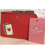 KATE SPADE NWT MED L ZIP CARD WALLET LUCKY DRAW LEATHER KEY RING FOB - $49.00