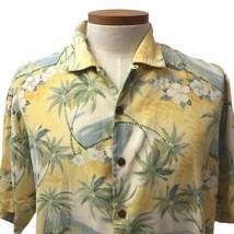 Tommy Bahama Men's Yellow Silk Aloha Hawaiian Shirt Tropical Palm Trees Size L - $23.20