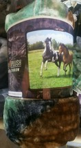 Horses Out in the Field American Heritage Woodland Plush Raschel Throw b... - $23.75