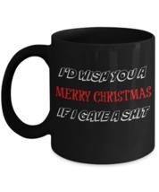 Christmas Mug, I'd Wish You A Merry Christmas, 11oz Black Ceramic Coffee... - $19.79