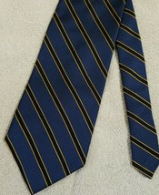 BROOKS BROTHERS Makers Blue Black Gold Striped Tie Silk Made In USA Luxury - $33.26