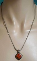 """Sterling Silver Braid Chain Necklace Italy and Pendant Orange """"Coral"""" St... - £21.71 GBP"""