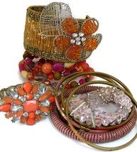 Lot/10 Mixed Bracelets Bangle Cuff Wrap Jewelry Pink Orange Spring Pastels - $24.53