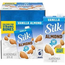 Silk Pure Almond Vanilla 32-Ounce Pack of 6, Vanilla Flavored Non-Dairy Almond M